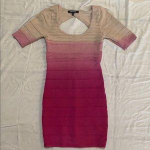 Ombré pink/tan dress.